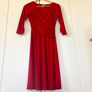 Red 3/4 sleeves fit & flare dress